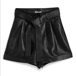 Topshop black high waisted Faux leather shorts